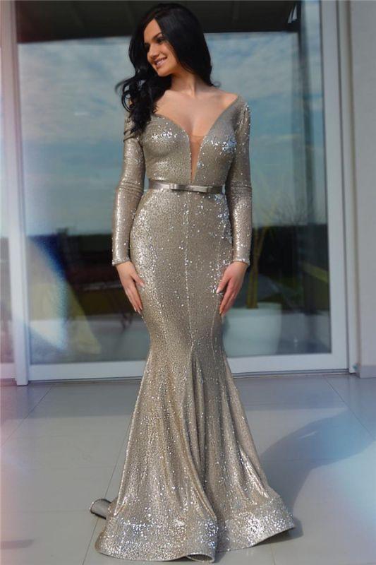 Sparkle Sequins Deep V Neck Prom Dress   Charming Long Sleeves Sash Long Prom Dress