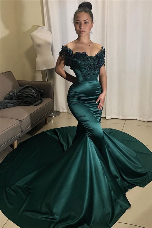 Off The Shoulder Dark Green Prom Dresses Cheap | Mermaid Beads Appliques Evening Gowns with Long Train