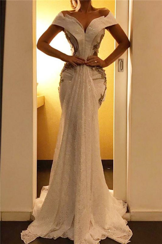 Gold Appliques Mermaid Long Formal Dresses| Off The Shoulder Sequins Lace Sexy Cheap Prom Dresses