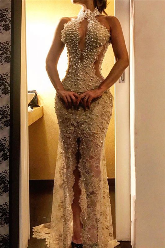 Sexy Slit Lace Prom Dresses Cheap Online | Sleeveless Halter Pearls Long Formal Dress