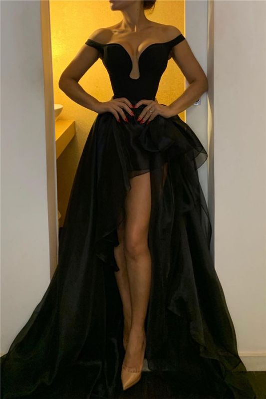 Off The Shoulder Black Prom Dresses for Juniors | Sexy Front Slit Hi-lo Cheap Evening Gowns
