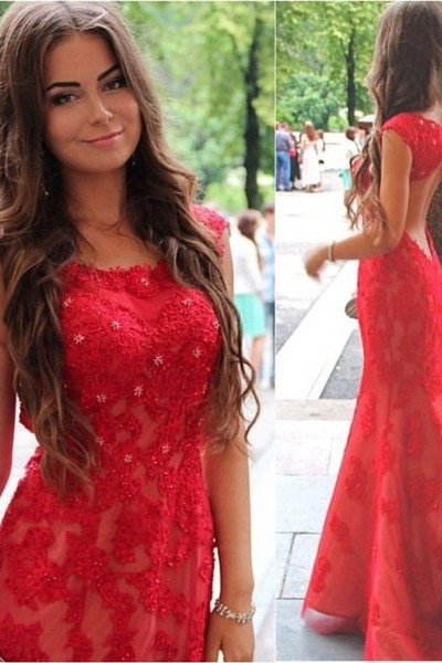 Red Lace Halter Mermaid Evening Dress Latest Backless Sweep Train Formal Occasion Dresses
