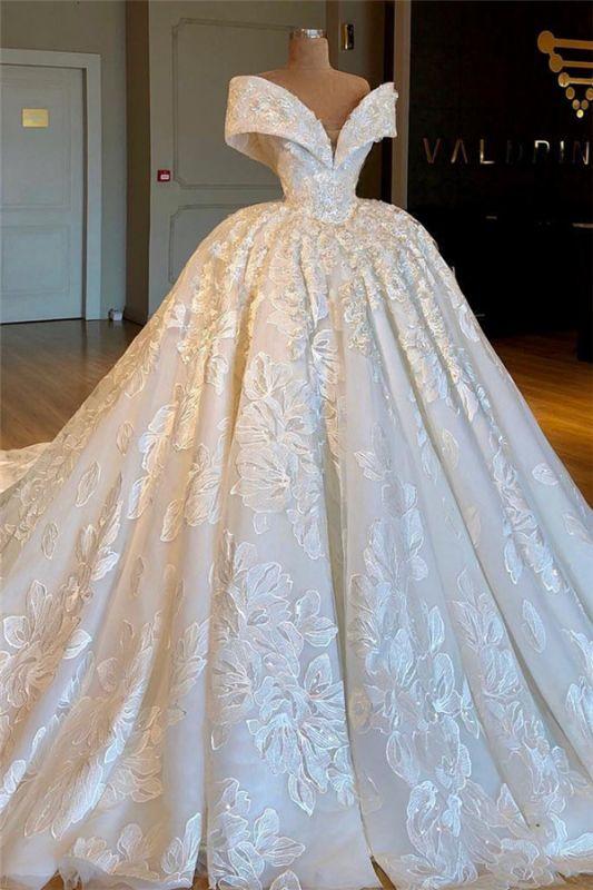 Sexy Off The Shoulder Cheap Ball Gown Chapel Train Appliques Chiffon Wedding Dresses