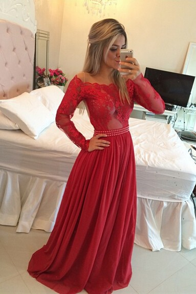 Long Sleeves Prom Dresses Chiffon Pearls Beaded Red Fuchsia Sheer A-line Evening Gowns