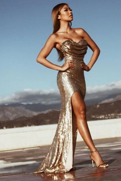 Gold-Sequins Sleeveless Ruched Mermaid Side-Slit Sexy Prom Dresses
