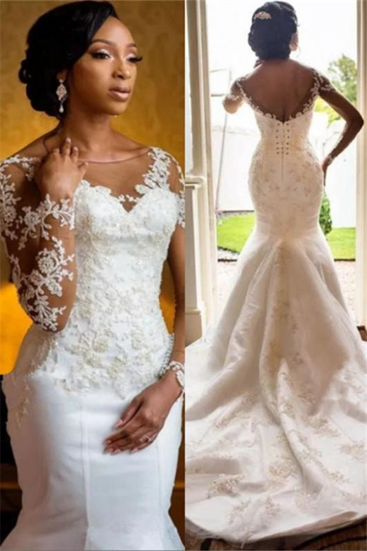 Charming Long Sleeve Lace Appliques  Mermaid Round Neck Wedding Dresses Cheap