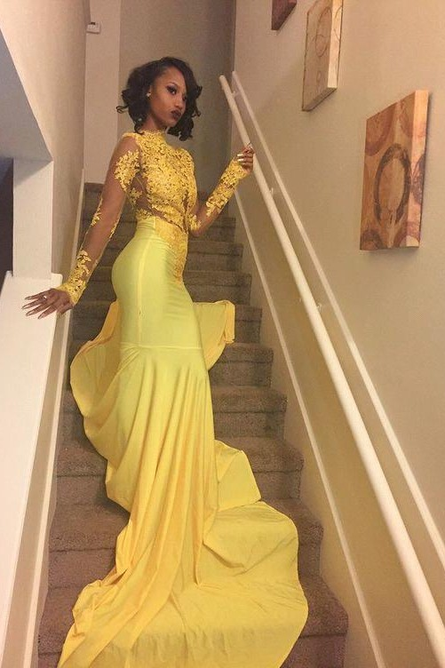 High-Neck Yellow Long-Sleeve Mermaid Appliques Beautiful Lace Prom Dress