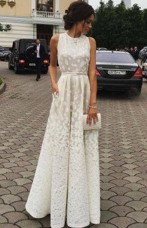 Satin Long Charming white Gradient Scoop Print Sleeveless Prom Dresses