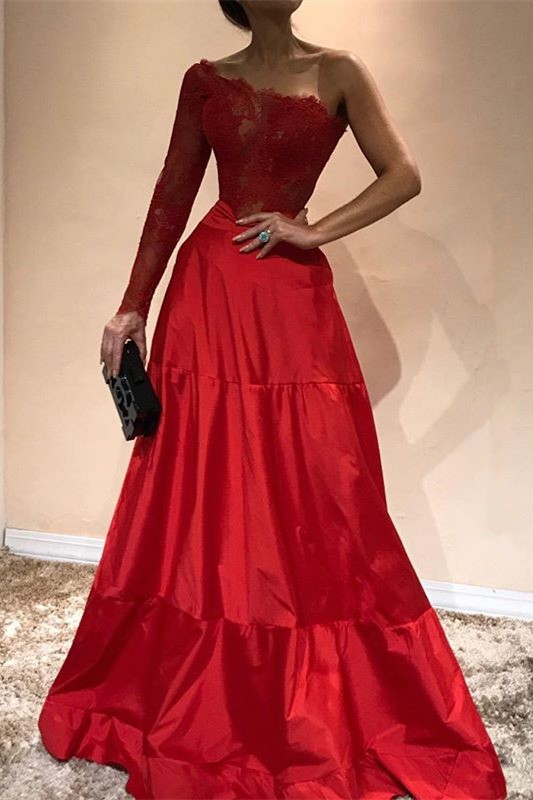 Gorgeous One-ShoulderEvening Dress | Lace Red Prom Party Gowns