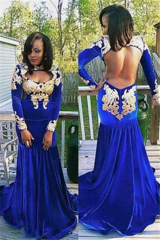 Long-Sleeve Zipper Gorgeous Appliques Mermaid Royal-Blue Prom Dress | Plus  Size Prom Dress