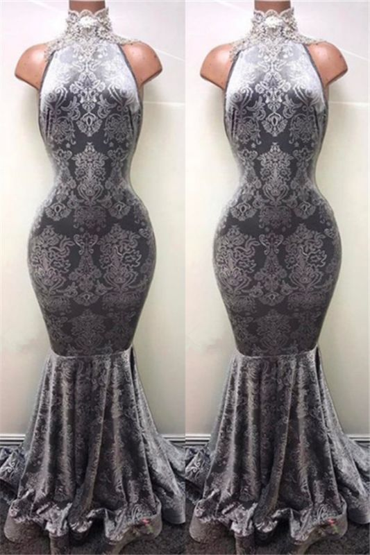 Silver Mermaid Long Prom Dresses Cheap | Sleeveless High Neck Plus Size Formal Dresses BA8233