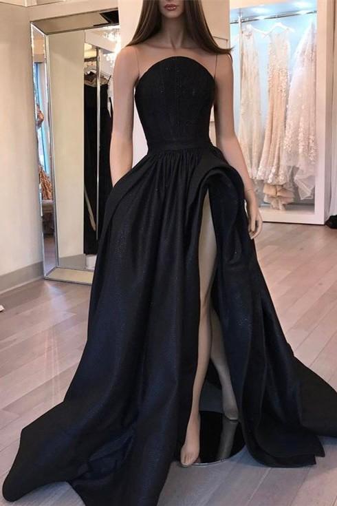Sexy Designer Sleeveless Slit Black Evening Dress