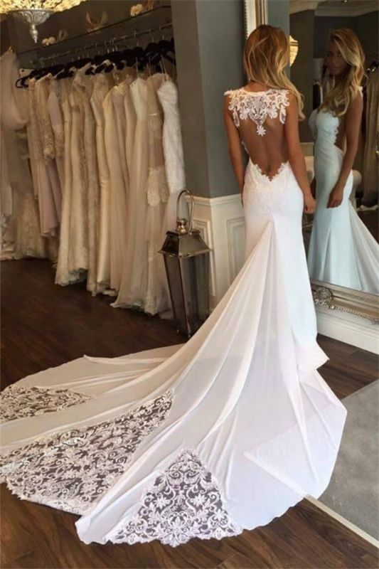 Sleeveless Open Back Lace Sexy Bridal Gowns Cheap | Newest Mermaid Chapel Train Wedding Dresses