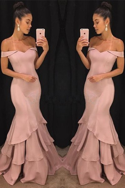 Pink Off The Shoulder Mermaid Prom Dresses Tiered Simple Formal Gowns SK0118-GA0