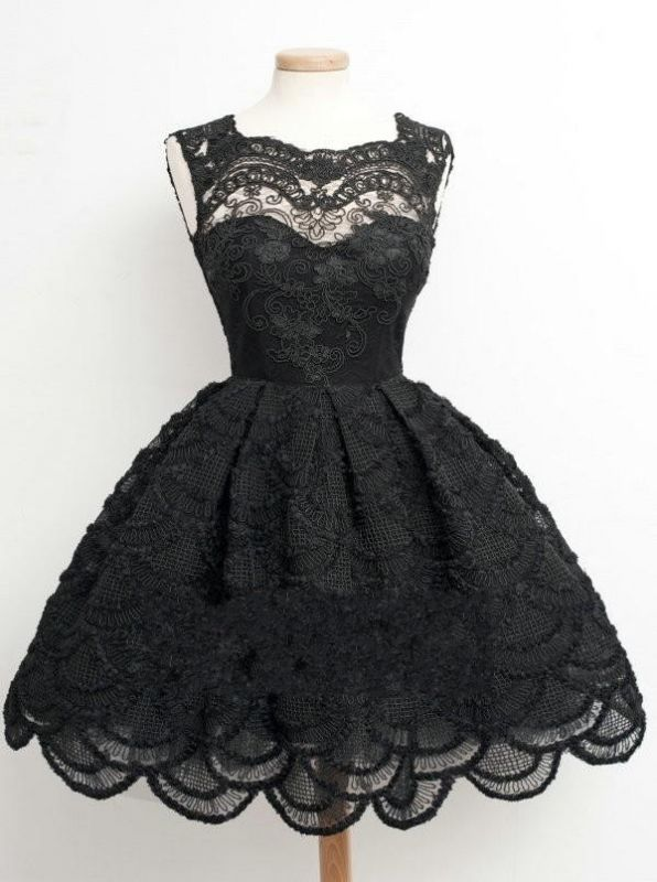Knee Length Black Little Lace Dresses Sexy Short Homecoming Dresses