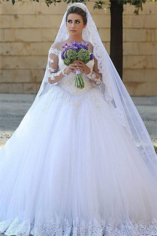 Appliques Tulle Long Sleeves Cheap Online New Arrival Lace Beadings Elegant Ball Gown Wedding Dresses
