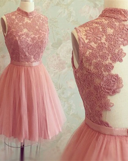 New Arrival High Neck Sleeveless Appliques Lace Mini Sexy Short Homecoming Dresses