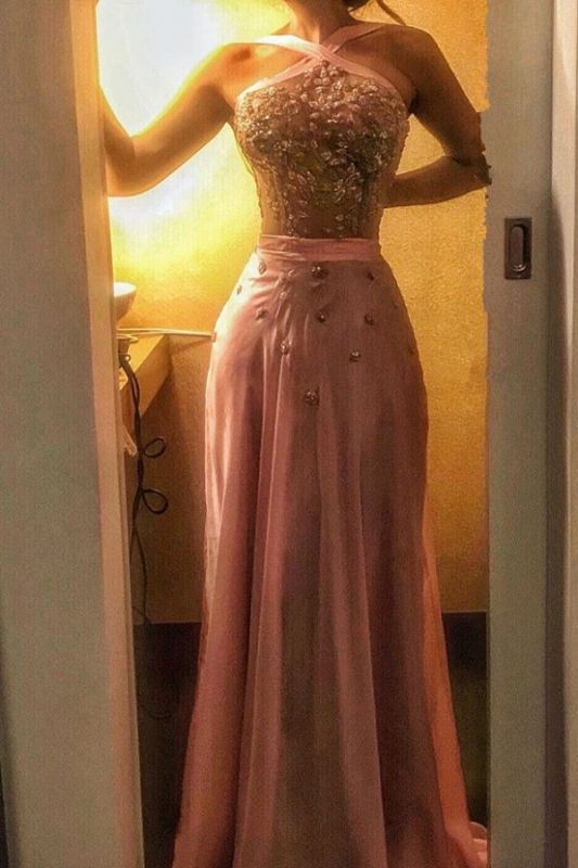 Halter CrystalEvening Dress | Mermaid Pink Prom Dress On Sale