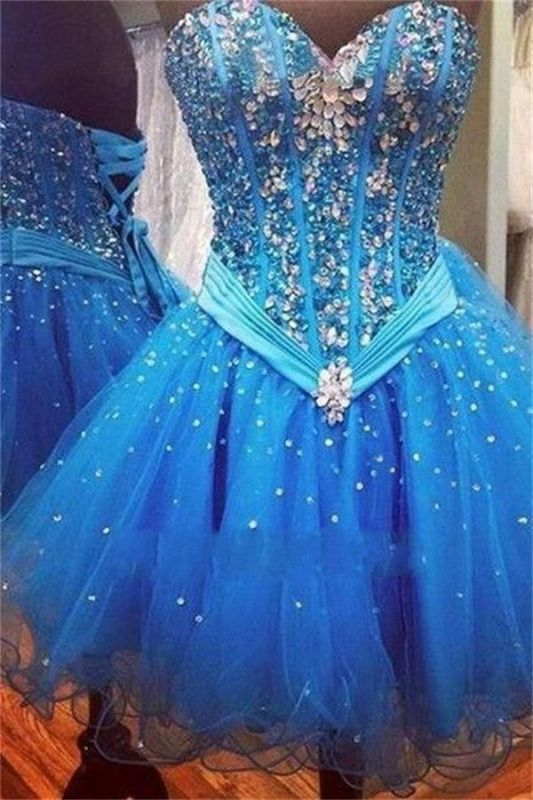 Rhinestones Lace-Up Sequins Sweetheart Sparkly Blue Organza Sexy Short Homecoming Dresses