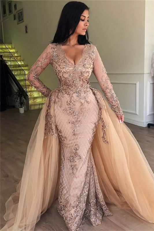 Sexy Mermaid V-neck Long Sleeves Appliqued Prom Dresses with Detachable Skirt