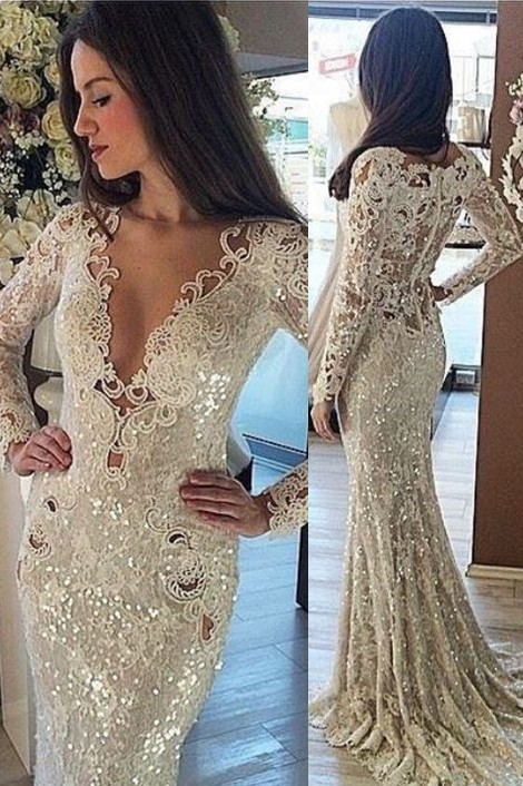 Sequins Mermaid Long Prom Dresses | Cheap Long Sleeve formal Dress BA7215