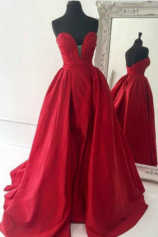 Sweetheart Red Evening Dresses | Oprn Back Long Prom Dresses Cheap Online BA7350