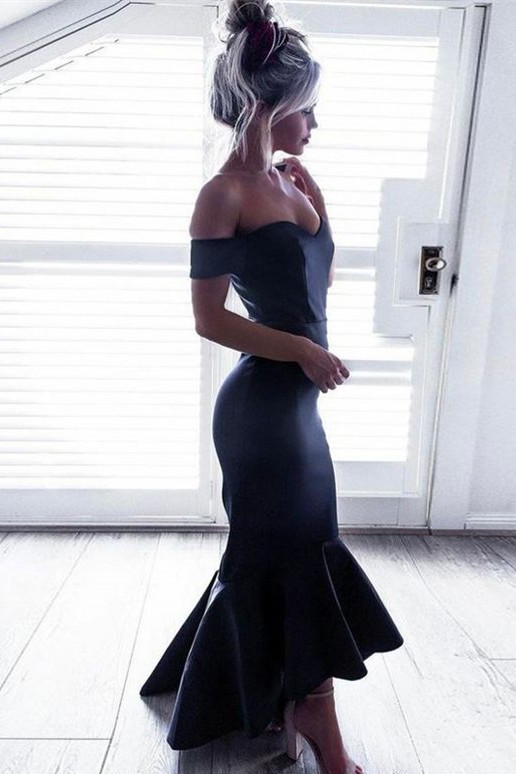 Short-Sleeves Off-The-Shoulder Black Mermaid Ruffle High-Low Chic Prom Dresses