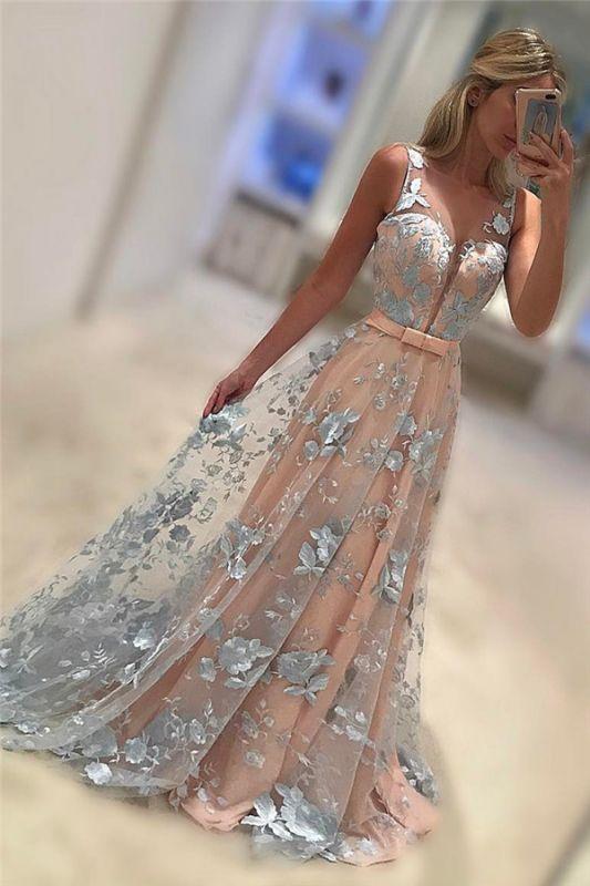 Sleeveless V-Neck Belt Applique Chiffon Sweep Train Evening Dresses