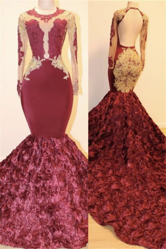 Open Back Gold Lace Burgundy Long Prom Dresses Cheap Plus Size | Mermaid Long Sleeve Formal Dresses for Juniors