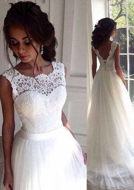 Sleeveless Sexy Wedding Dresses Cheap Online | Ribbon Lace Tulle Sweep Train Bateau Bridal Gowns