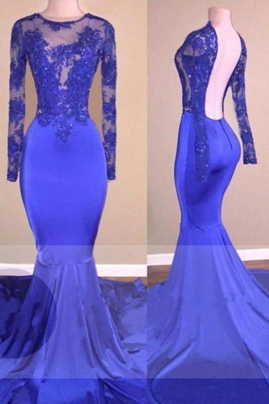 Long Sleeve Royal Blue Open Back Beaded Mermaid Prom Dresses Cheap