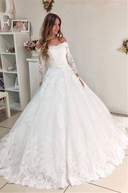 Popular New Arrival Lace Off Shoulder Long Sleeve Ball Gown Elegant Wedding Dresses