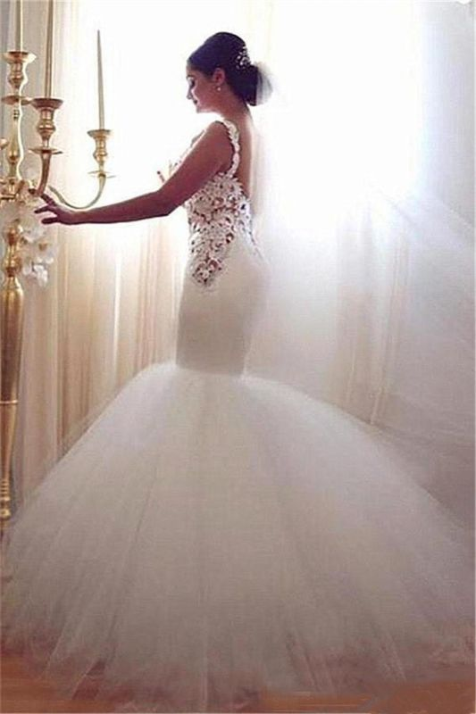 Lace Appliques V-Neck Sexy Mermaid Wedding Dresses Cheap Online Sleeveless Tulle Bridal Gowns