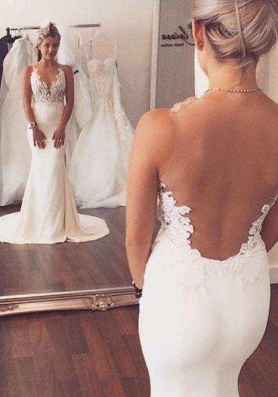 Illusion Back Mermaid Wedding Dresses Cheap Sleeveless Lace summer Beach Wedding Gowns BA3612