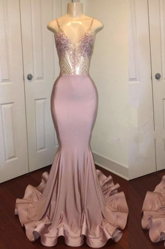 Open Back Spaghetti Straps Beads Long Prom Dresses Cheap for Juniors | Mermaid Formal Dresses