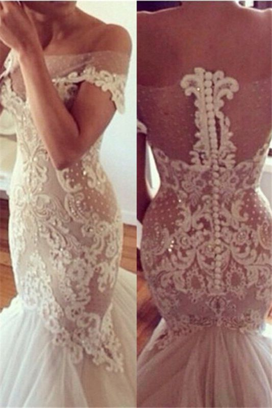 High quality New Wedding DressesReal Sample Hot sale Fashion strapless Tulle Lace Appliques Mermaid Wedding Dresses