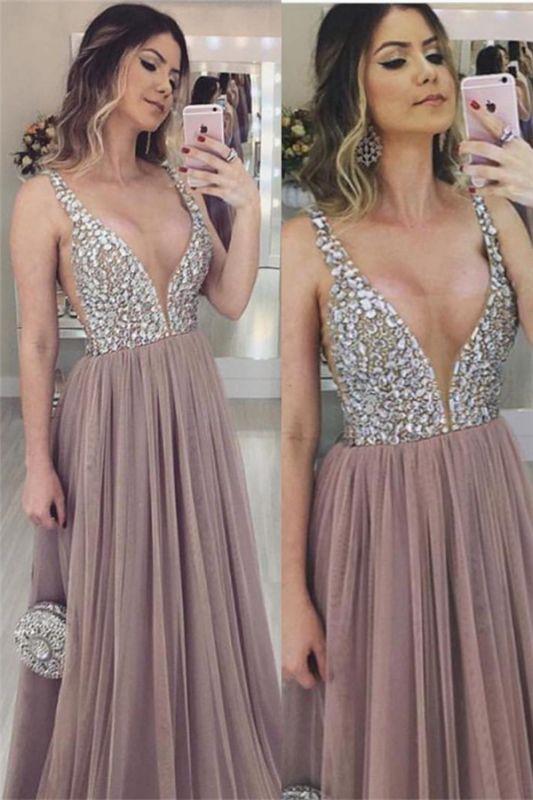 Fashion V-Neck Straps Sleeveless  Tulle Prom Dress