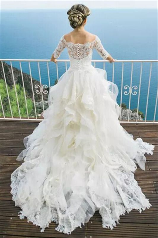 Half-Long Sleeves Off The Shoulder New Arrival Lace Layers Cheap Online Elegant Ball Gown Wedding Dresses