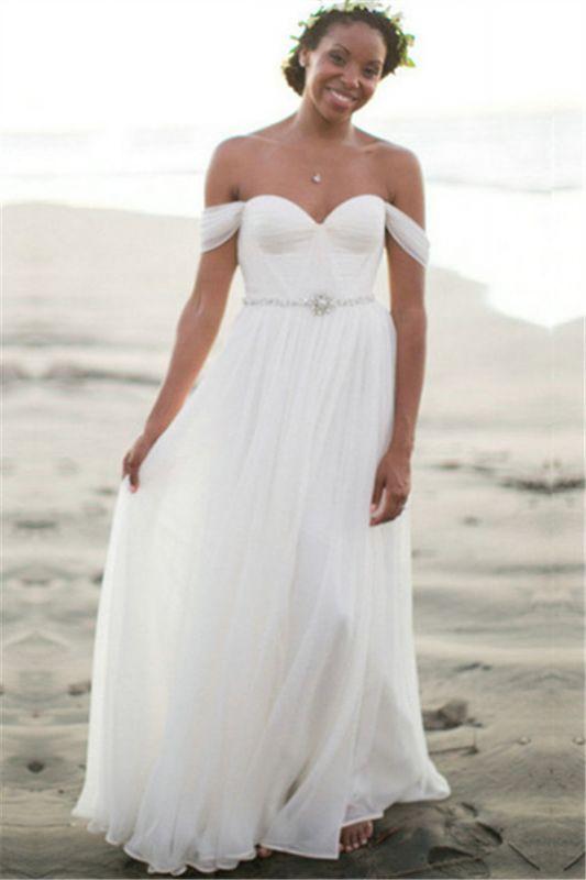 Off The Shoulder Summer Beach Wedding Dresses | Chiffon Bridal Gowns Cheap Online