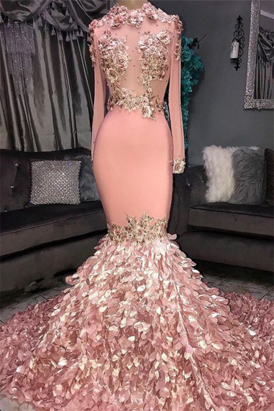 Glamorous Round Neck Flowers Long Sleeve Sequins Mermaid Long Prom Dresses Cheap