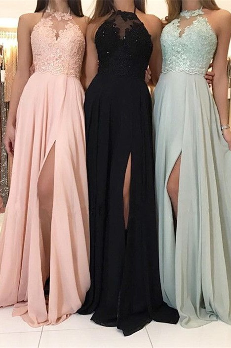 Elegant Halter Lace Evening Dress | 2019 Long Chiffon Prom Dress With Slit
