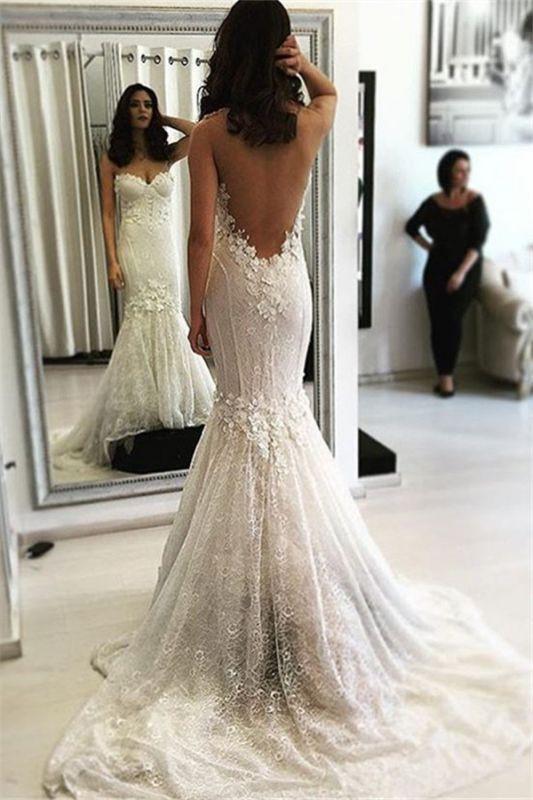Beautiful Lace Open Back Mermaid Sweep Train Sweetheart Wedding Dresses