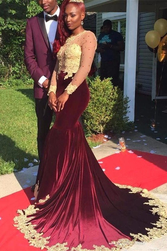 Appliques Long-Sleeve Velvet Burgundy Gorgeous Prom Dress