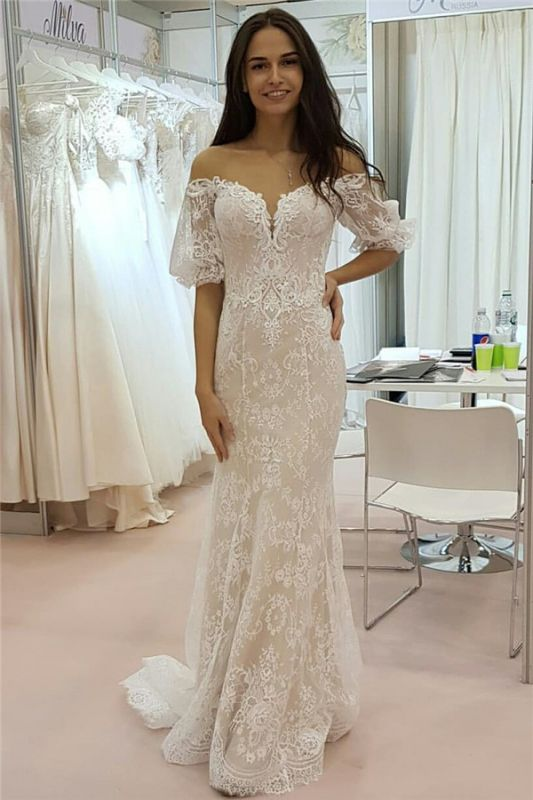 Tulle Lace Strapless Sweetheart Short Sleeve Cheap Wedding Dresses