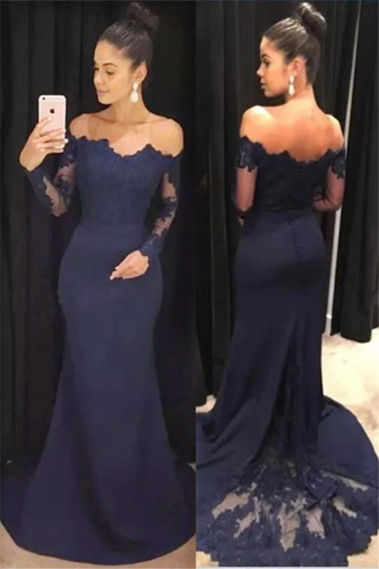 Long Sleeve Navy Blue Formal Dresses | Cheap Lace Long Prom Dresses