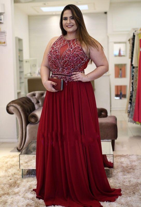 Burgundy A-Line Jewel Vintage Rhinestones Plus-Size Chiffon Prom Dresses