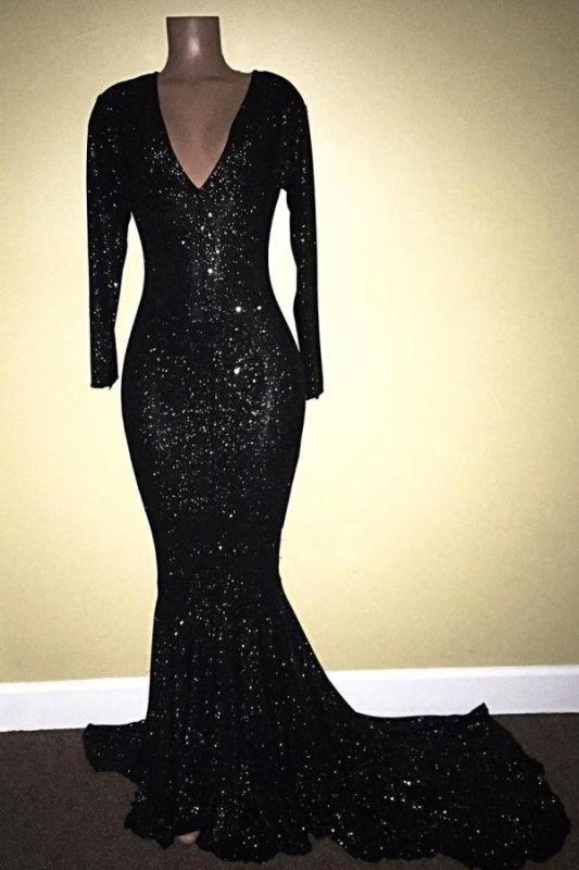V-Neck Sequins Mermaid Long Sleeve Shiny Black Long Prom Dresses Cheap | Black Prom Dresses Cheap
