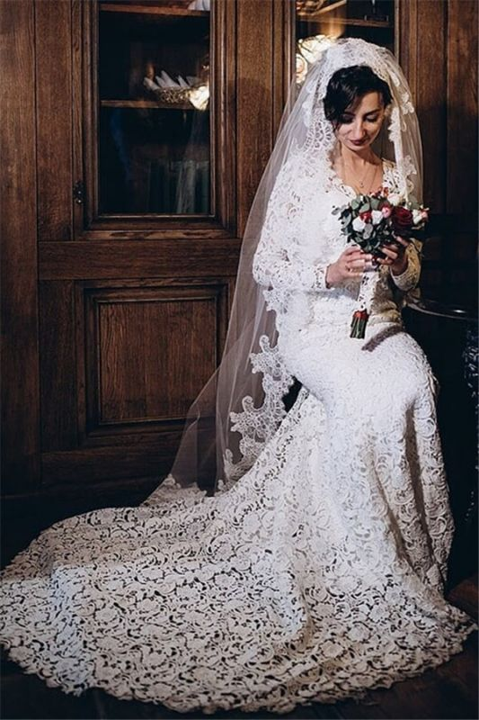Full Lace Long Sleeve V-Neck Cheap Mermaid Wedding Dresses