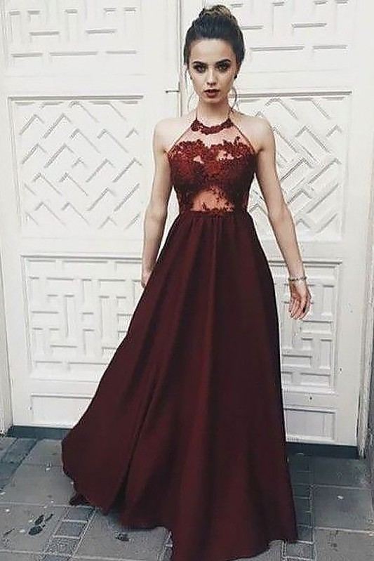 Cute Halter A-line Lace Appliques Deep Burgundy Evening Dress