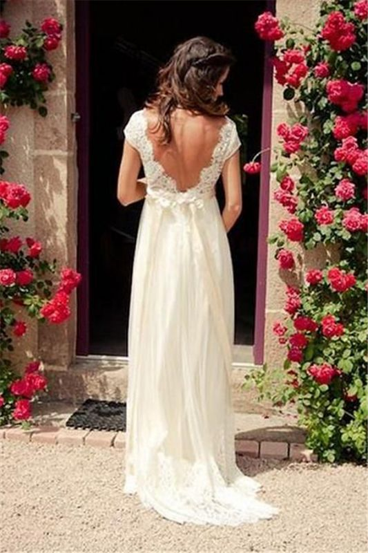 V-neck Sexy Sweep Train Sleeveless Cheap Tulle Beading Wedding Dresses